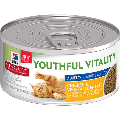 Lata Gato Adulto 7+ Youthful Vitality Pollo y Vegetales Hill's Science Diet