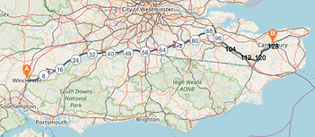 Winchester to Canterbury Map