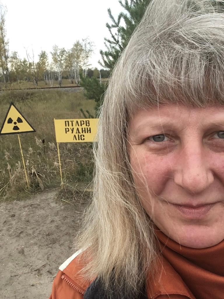 Radioaktiivista punaisen metsän aluetta Tsernobylissä.