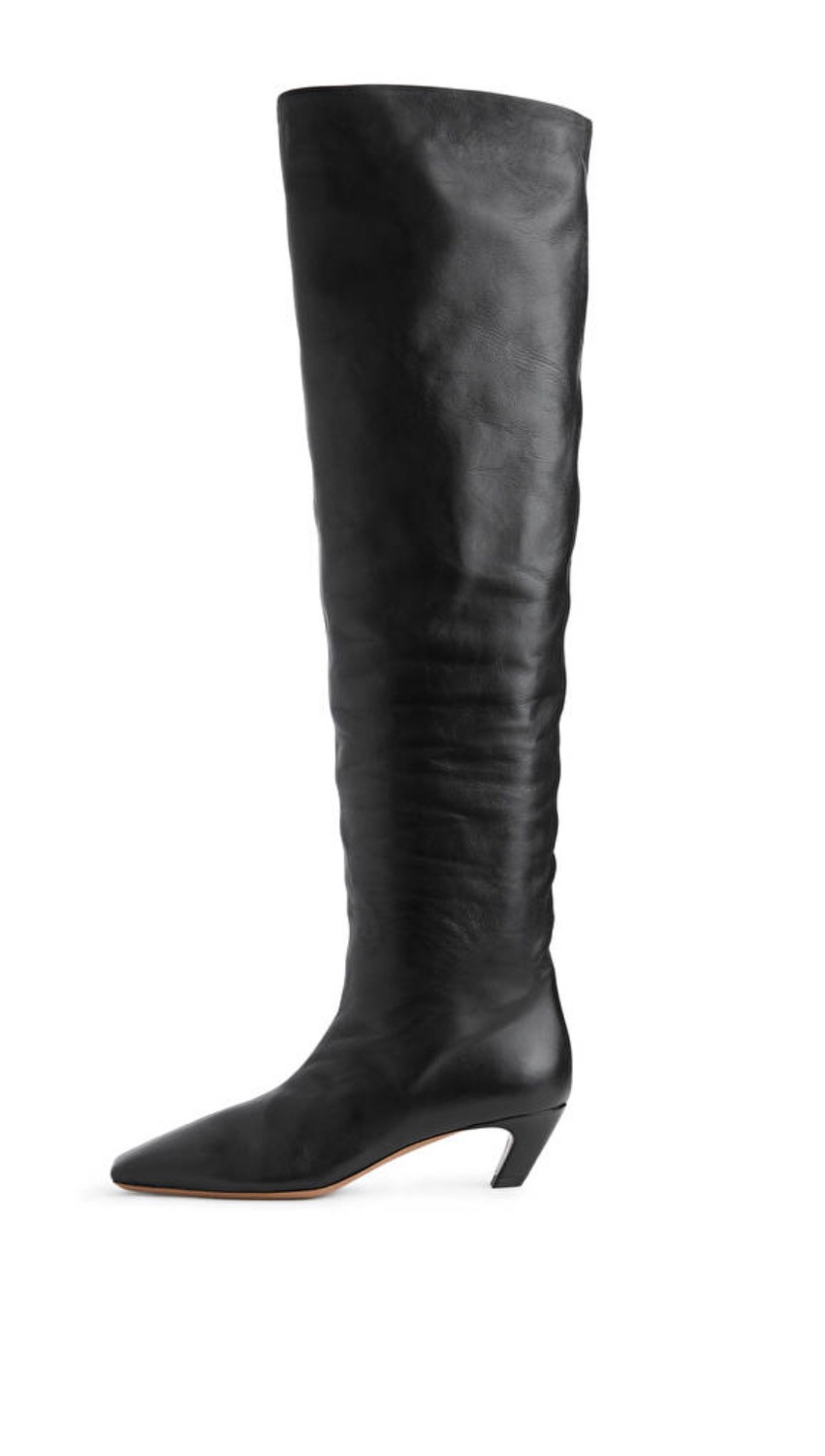 Black over the knee boots with low heel