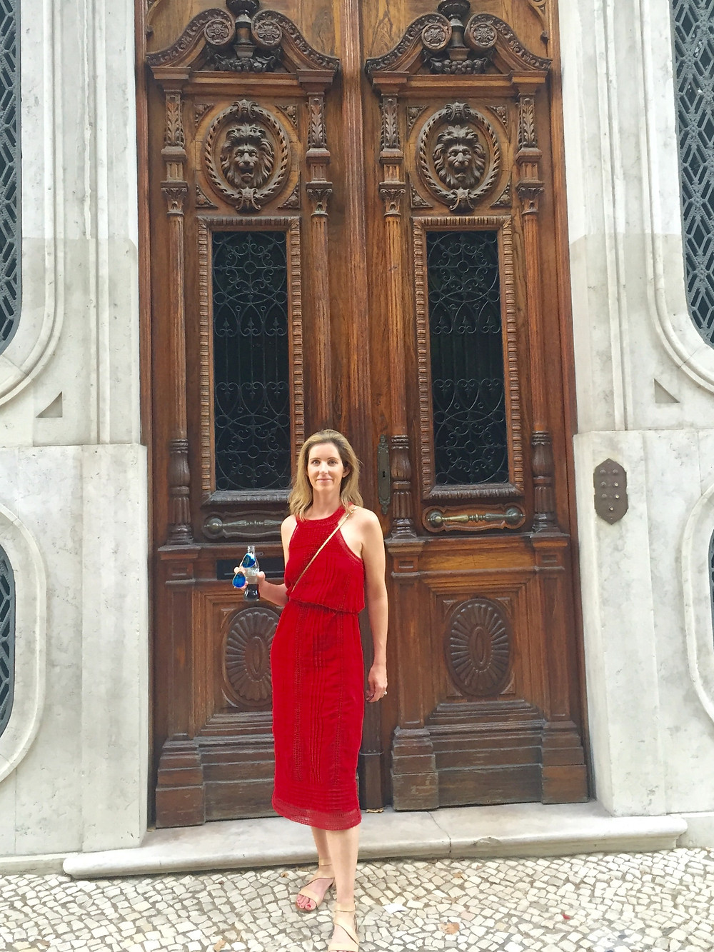 This is me posing in front of one of the fabulous doors.I love a nice tall European door. It was so hot while we were there which is why I'm holding a diet coke.