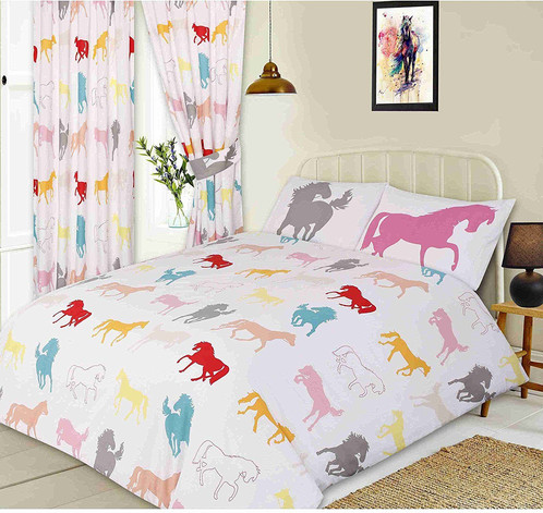 VIBRANT MULTI COLOURED PONY HORSES FUN DUVET COVER BEDDING SET OR CURTAINS