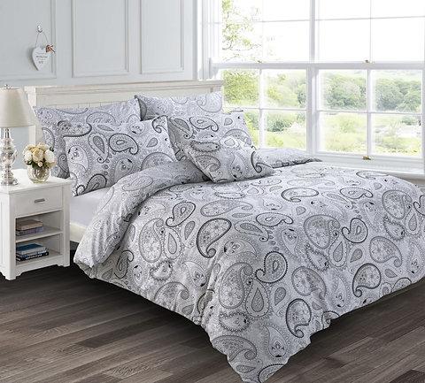 Modern Grey Paisley Print Duvet Cover Pillowcase Set Single