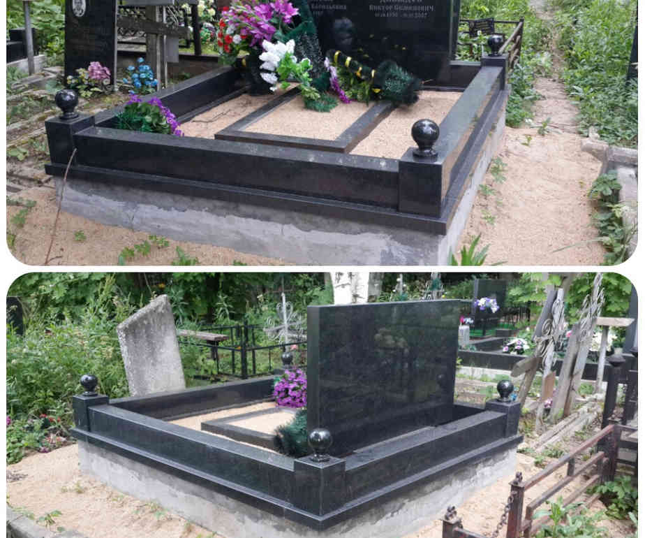 Бетонный цоколь на кладбище