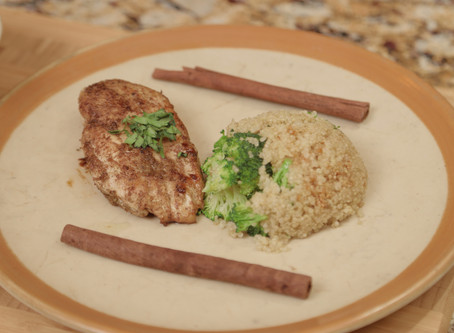 CINNAMON COCONUT CHICKEN BREASTS WITH QUINOA & BROCCOLI