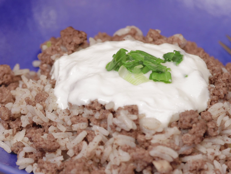 GROUND BEEF & RICE & NUTMEG served with YOGURT on the side