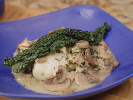 PAN-FRIED WILD COD COOKED IN COCONUT MILK, SALT AND CORIANDER