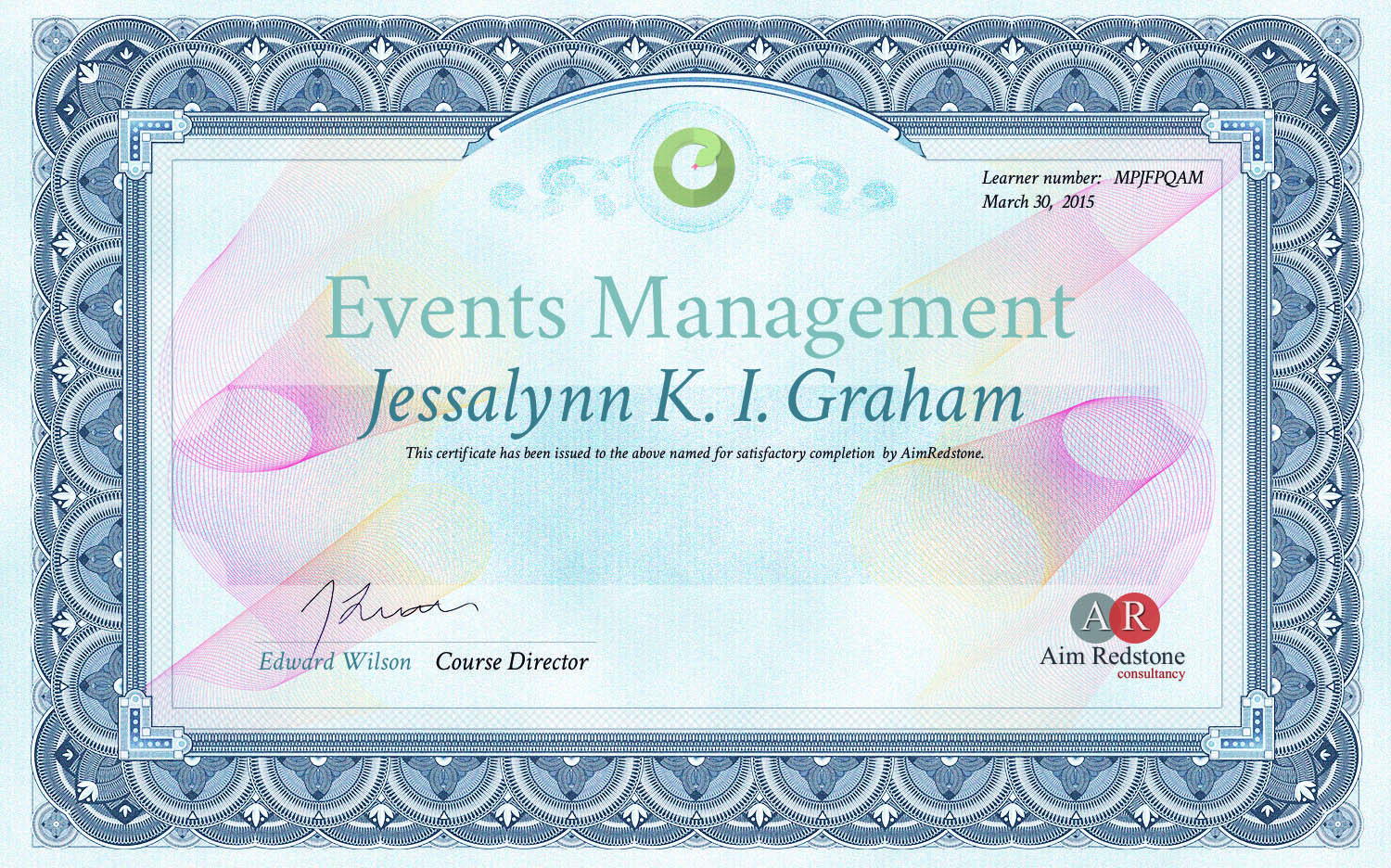 Events Management Certificate