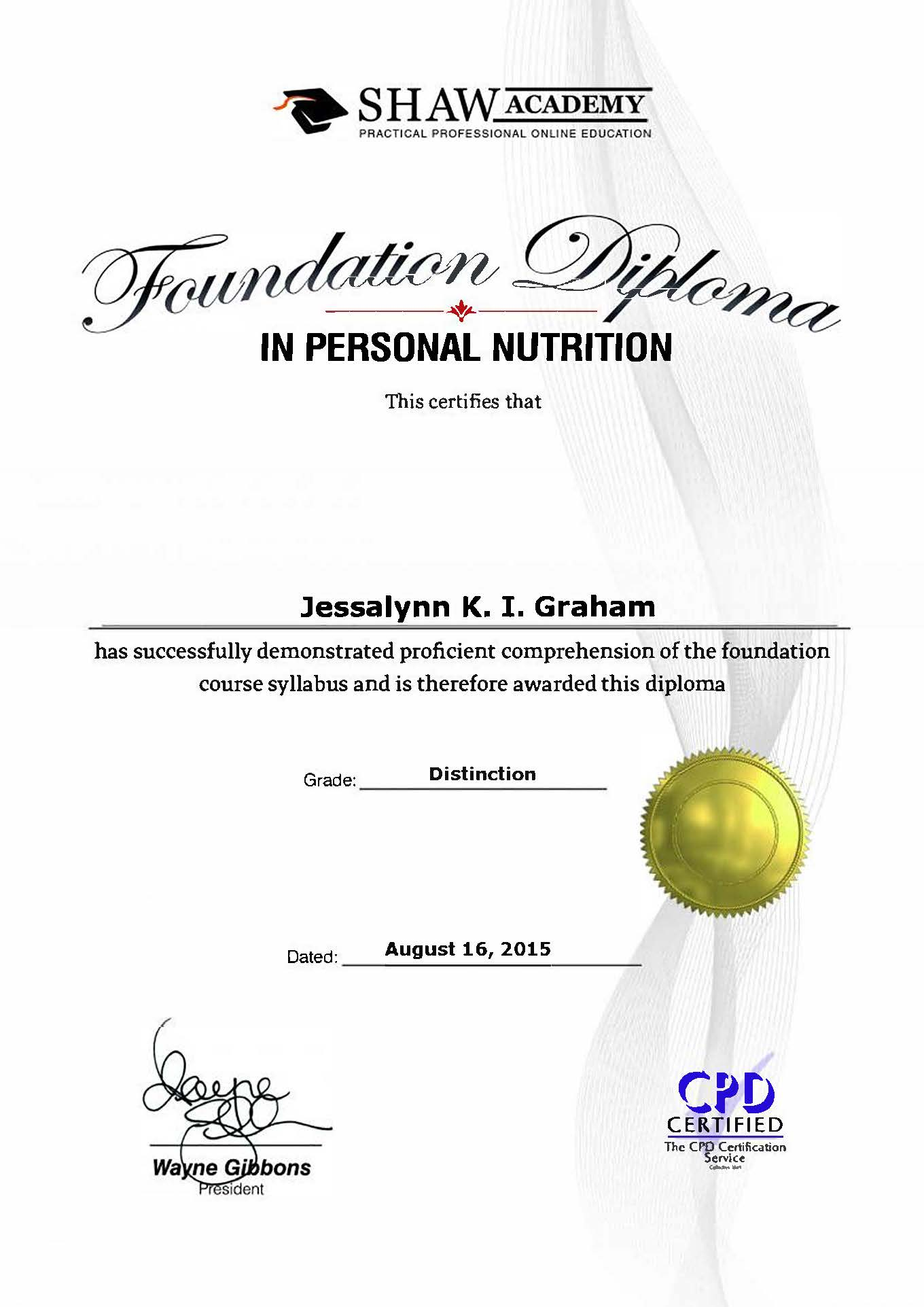 Personal Nutrition Diploma