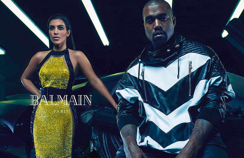 Kanye West and Kim Kardashian for Balmain S/S '15