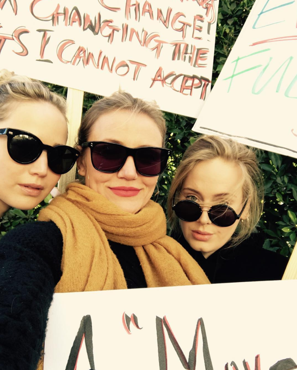 Jennifer Lawrence, Cameron Diaz and Adele in solidarity.