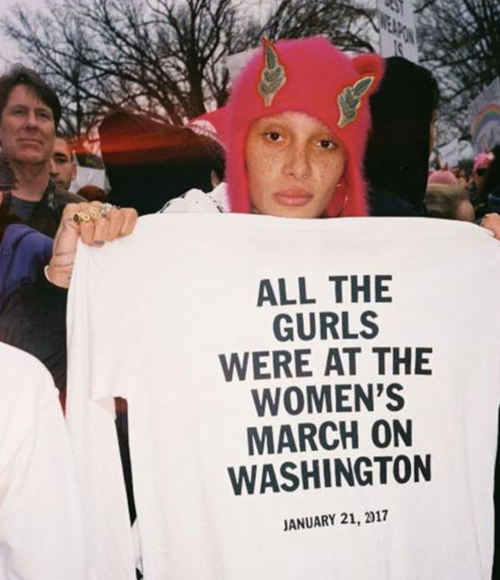 Adwoa Aboah at the Women's March in Washington.