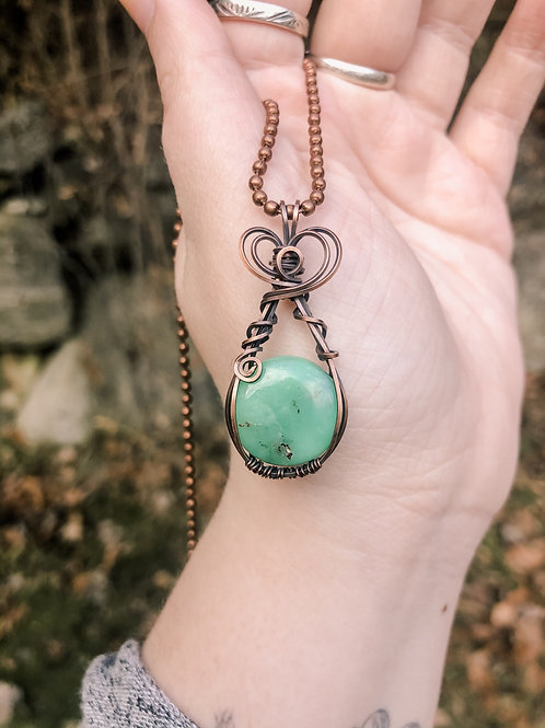 Chrysoprase Mini Pendant in Copper