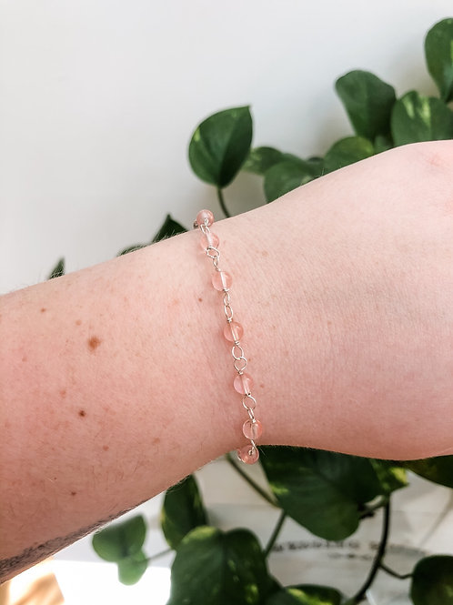 Cherry Quartz Bead Chain Bracelet