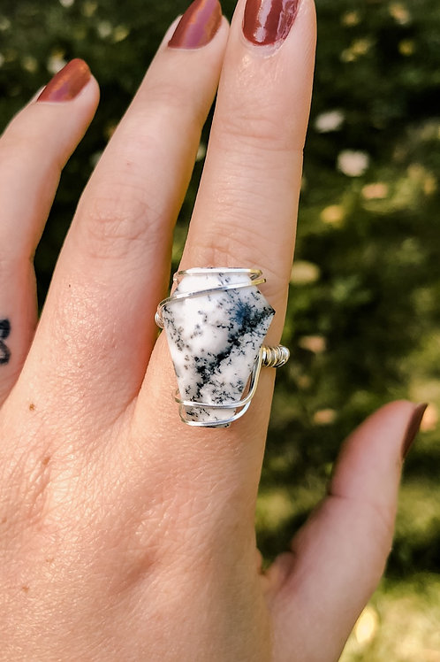 Dendritic Opal Coffin Ring in Silver (made to order)