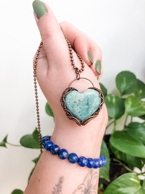 Amazonite Heart in Copper