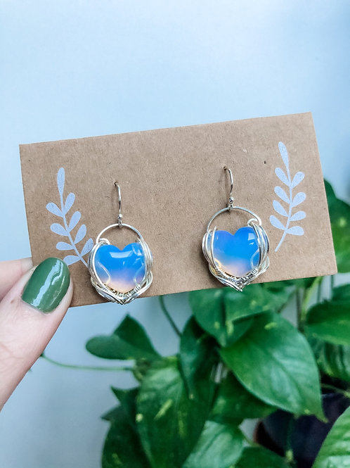 Opalite Heart Earrings in Sterling Silver