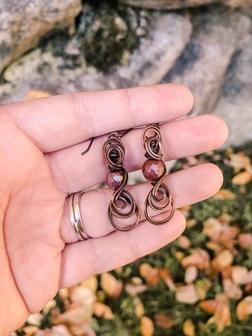 Swirly mookaite earrings