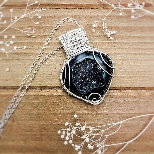 Sparkly Black Druzy in Sterling Silver