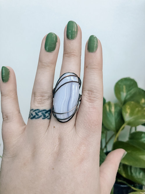 Blue Lace Agate Copper Ring, Size 10.5
