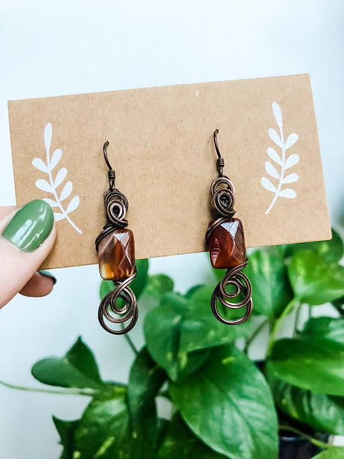 Swirly carnelian earrings