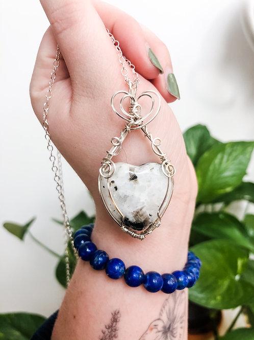 Moonstone Heart Pendant in Sterling Silver