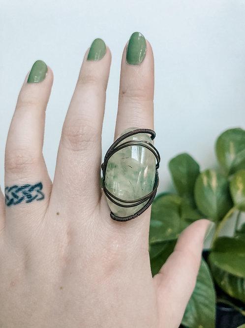 Prehnite Copper Ring, Size 8.5