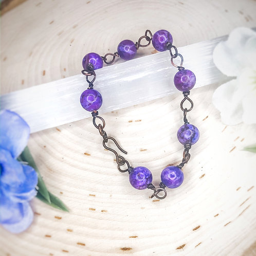 Beaded Purple African Turquoise Bracelet