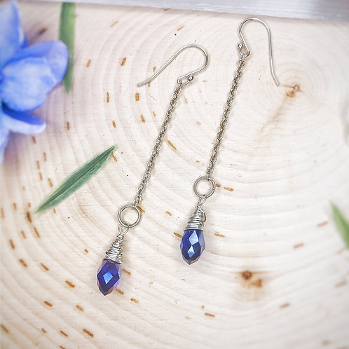 Soft blue drop earrings