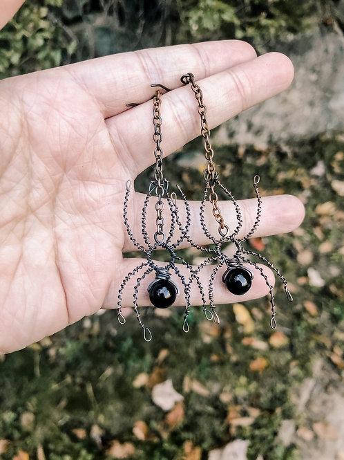 Copper Spider and Hypersthene Earrings
