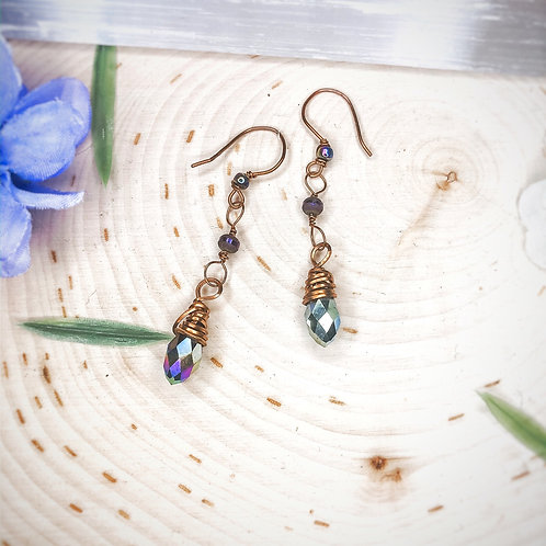 Rainbow titanium beaded dangles in copper