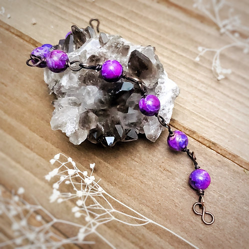 Beaded Purple African Turquoise Bracelet