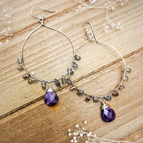 Amethyst and labradorite sterling earrings