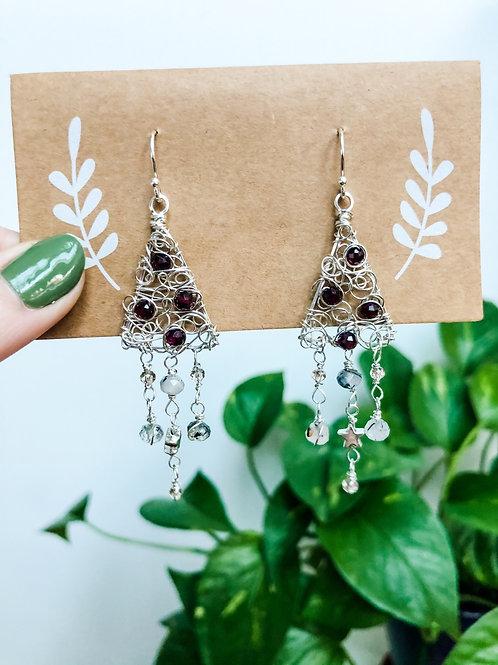 Garnet Christmas Tree Earrings