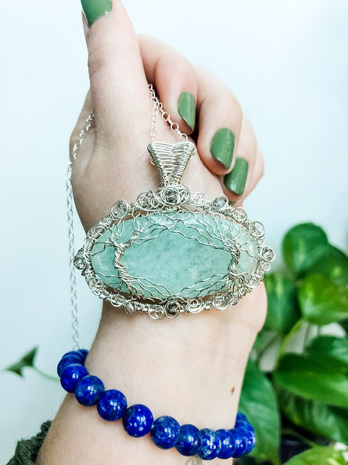 Aquamarine Tree of Life in Sterling Silver