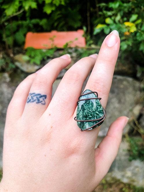 Seraphinite Copper Ring, Size 7.25