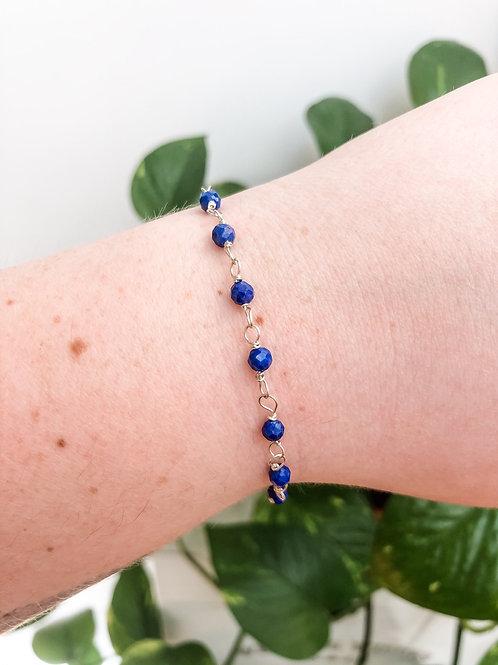 Lapis Lazuli Bead Chain Bracelet
