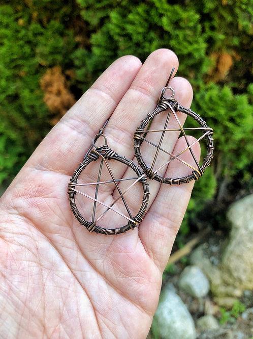 Pentacle earrings, oxidized copper