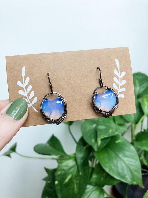Opalite Heart Earrings in Copper