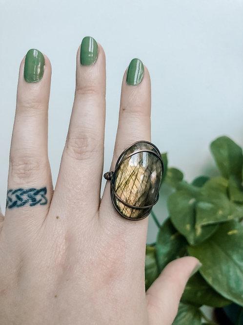 Golden Labradorite Copper Ring, Size 8