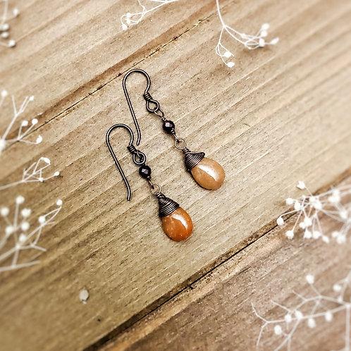 Aventurine and Garnet Earrings