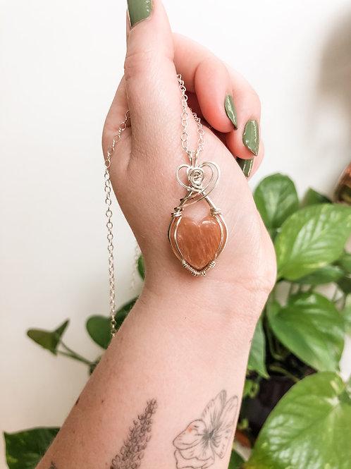 Peach Moonstone Heart in Sterling Silver Pendant