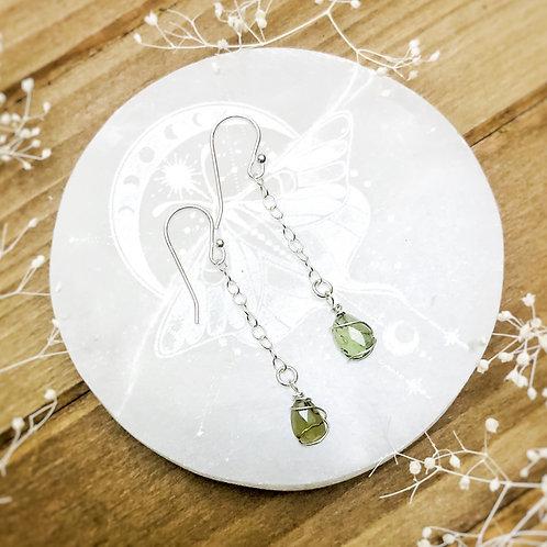 Moldavite Earring in Sterling Silver
