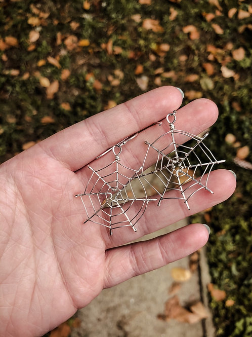 Small Spider Web Sterling Silver Earrings (made to order)