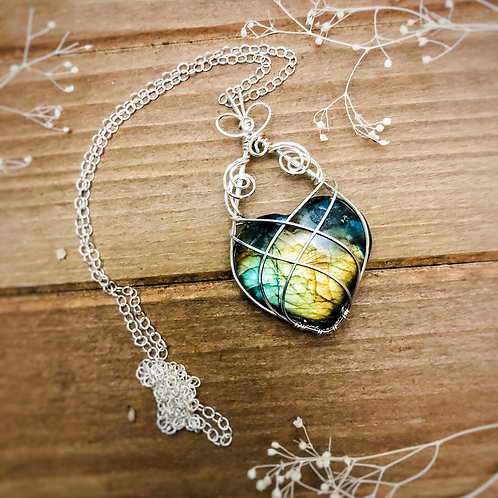 Golden Labradorite Heart in Sterling Silver