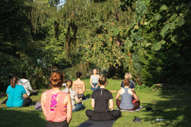 Yoga in the castle grounds
