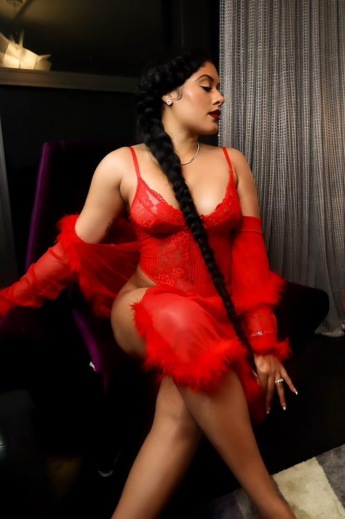 Sheer Red Fur Valentine's Robe