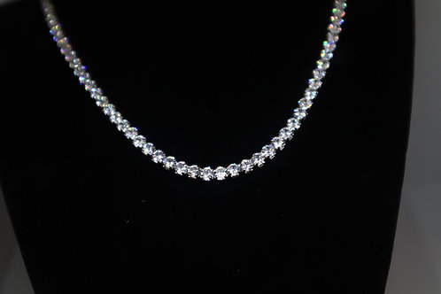 3mm White Tiffany Tennis Necklace 16in