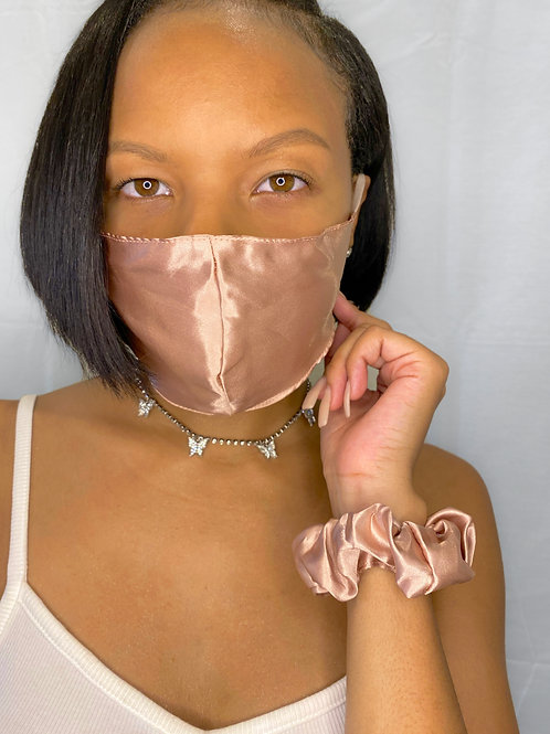 """Safe And Sassy"" Face Mask & Scrunchies Set- Plush"