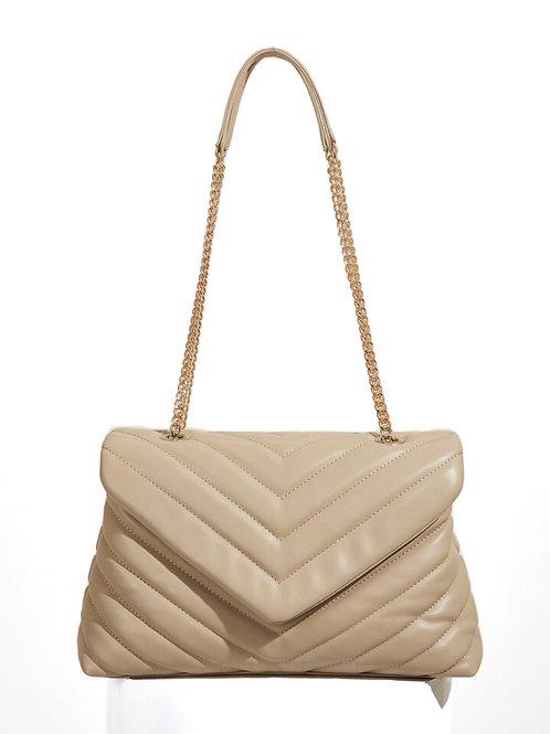 """Tan """"Camille"""" Quilted Shoulder Bag"""